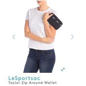 🆕 Le Sportsac Taylor Zip Around Wallet Black